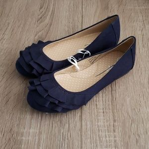 **2 for $14** Blue Faux Suede Ruffle Flats